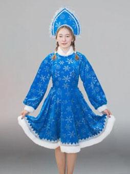 Снегурочка с кокошником синий