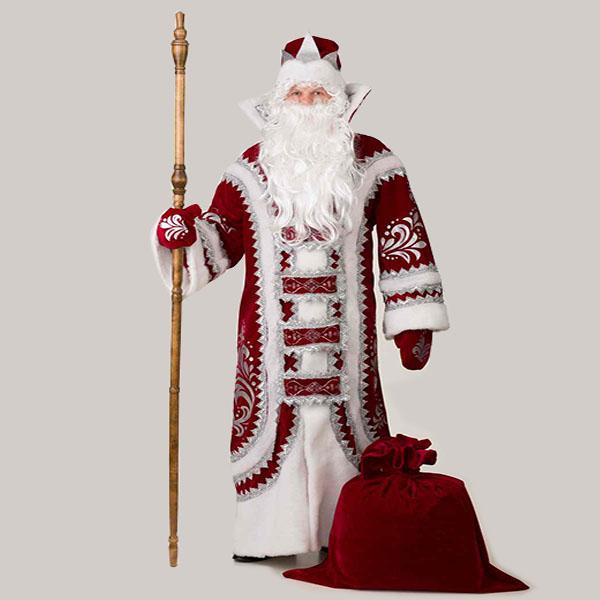 Бордовый Костюм Деда Мороза Купеческий